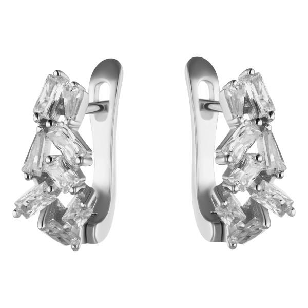 Серебряные серьги Sandara Ice с фианитом XCE029  - купить со скидкой