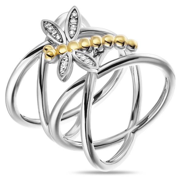 Купить Серебряное кольцо Sandara Ice с фианитом и позолотой XCR064