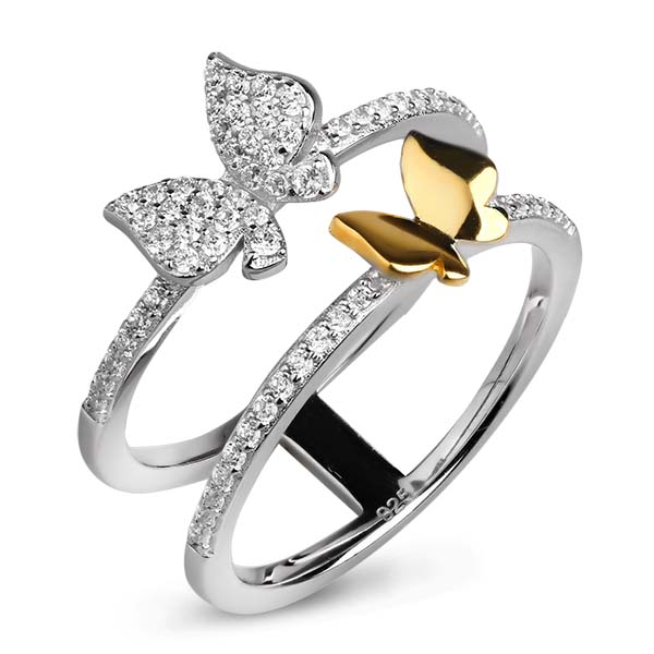 Купить Серебряное кольцо Sandara Ice с фианитом и позолотой XCR083