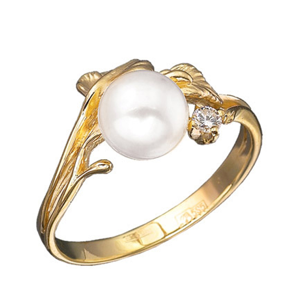 Купить Золотое кольцо Aldzena с бриллиантом и жемчугом K-11412, Альдзена