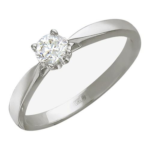 Купить кольцо с 1 бриллиантом весом 0.25 карата из белого золота 585 пробы по цене 42300 рублей в ювелирном магазине