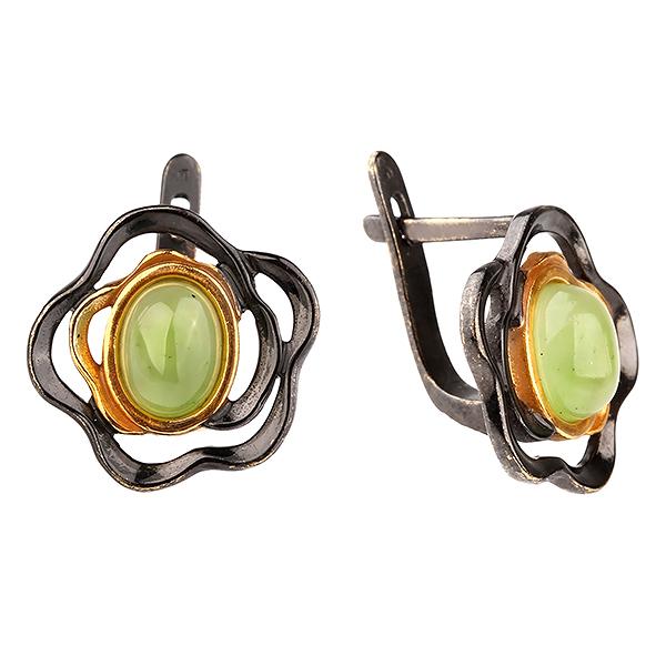 Серебряные с позолотой серьги с нефритом 72802031n, Нефрит  - купить со скидкой