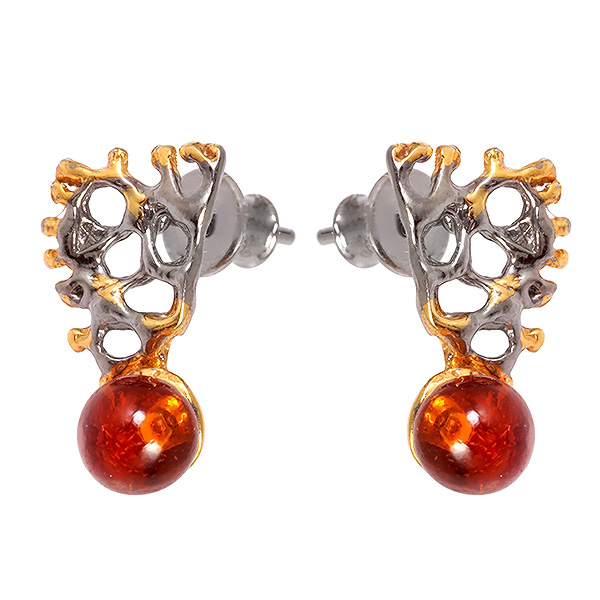 Серебряные серьги с позолотой и янтарем 821924aw, Янтарь  - купить со скидкой