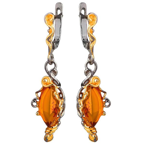 Серебряные серьги с позолотой и янтарем 821953aw, Янтарь  - купить со скидкой