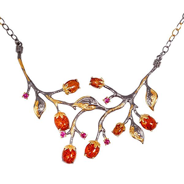 Купить Серебряный кулон с позолотой и янтарем 823929aw, Янтарь