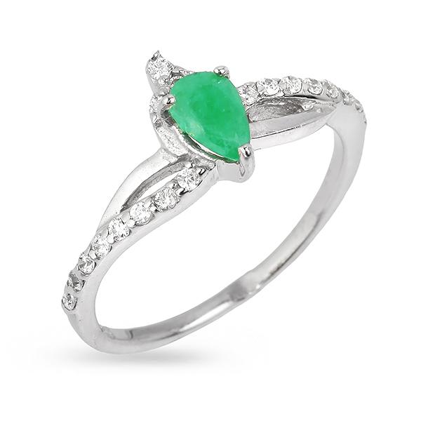 Фото #1: Серебряное кольцо Sandara с изумрудом и фианитами ANR039