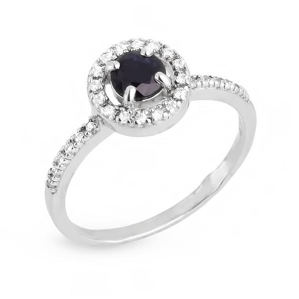 Купить Серебряное кольцо с сапфиром CRR12584C, Серебро РОСТ