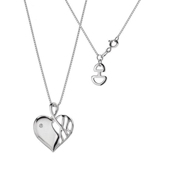 Купить со скидкой Серебряный кулон на цепи Hot Diamonds с бриллиантом на цепи, размер 40-45 см DP203