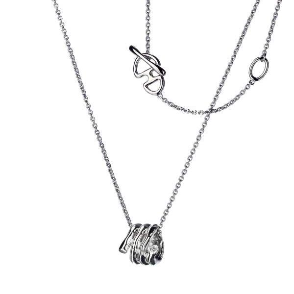 Купить Серебряный кулон Hot Diamonds с бриллиантом на цепи, размер 40-45 см DP240
