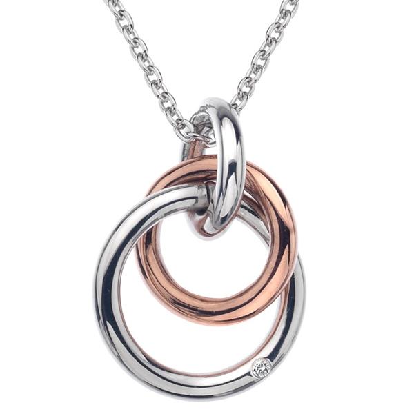 Купить Серебряный кулон Hot Diamonds с бриллиантом и позолотой на цепи. 40-45 см DP373