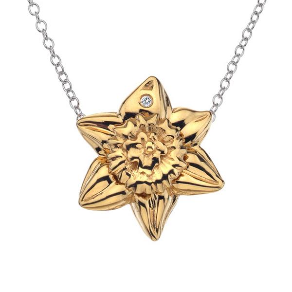 Купить Серебряный кулон Hot Diamonds с бриллиантом и позолотой на цепи, размер 40-45 см DP389
