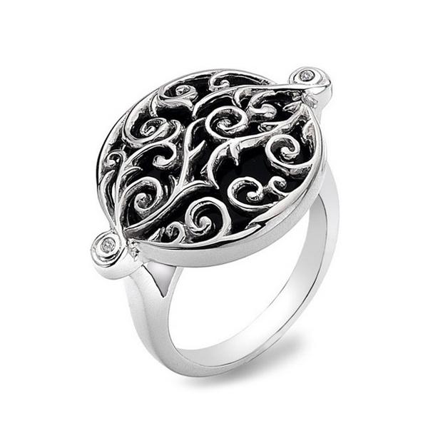 Купить Серебряное кольцо Hot Diamonds с бриллиантами и черным ониксом DR107