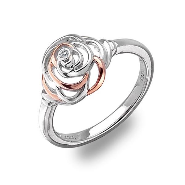 Купить Серебряное кольцо Hot Diamonds с бриллиантом и позолотой DR123