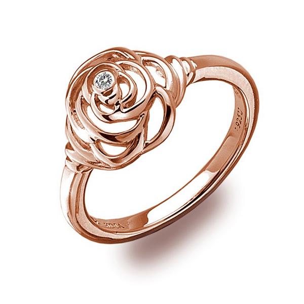 Купить Серебряное кольцо Hot Diamonds с бриллиантом и позолотой DR124