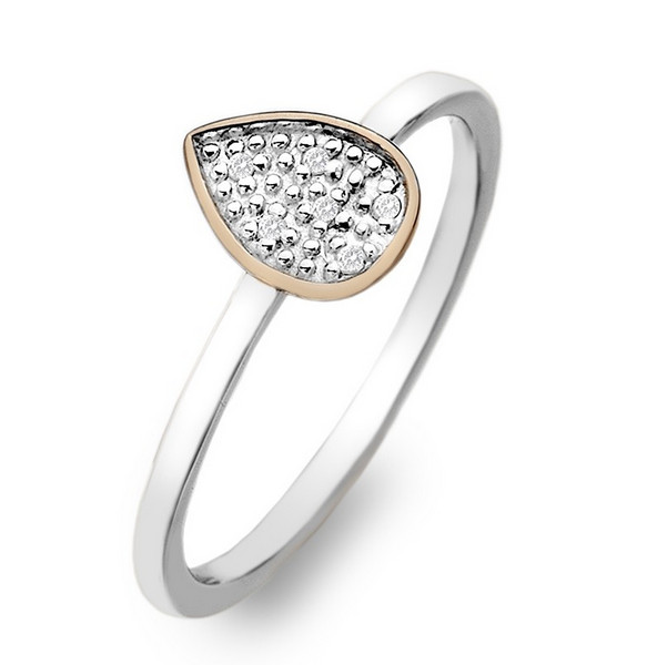 Купить Серебряное кольцо Hot Diamonds с бриллиантами и позолотой DR142
