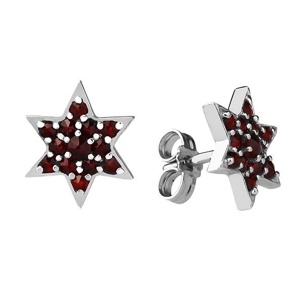 Купить Серебряные серьги Karluv Most с гранатом DSE018