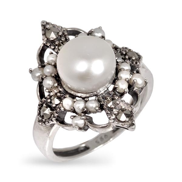 Серебряное кольцо Винтаж с жемчугом, микрожемчугом и марказитами ECRA01269M  - купить со скидкой