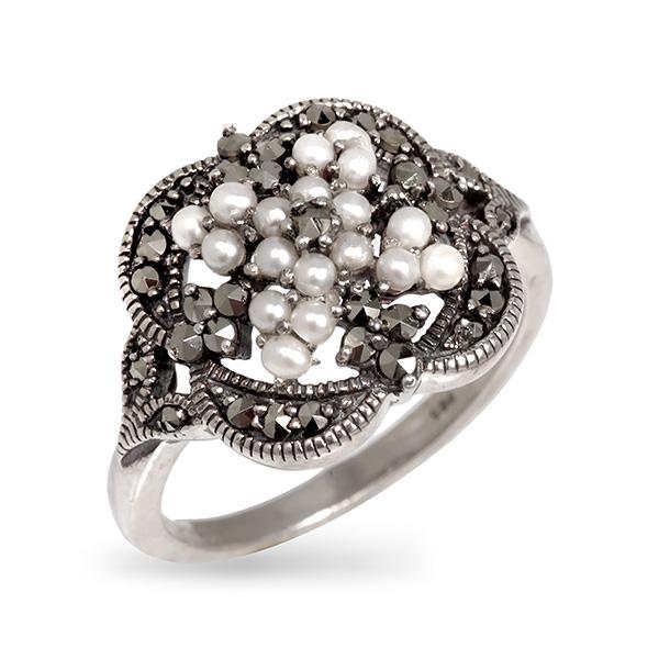 Серебряное кольцо Винтаж с микрожемчугом и марказитами ECRA01510M  - купить со скидкой