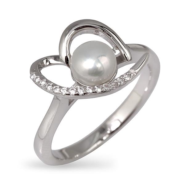 Купить со скидкой Серебряное кольцо De Luna с жемчугом и фианитами EDR126