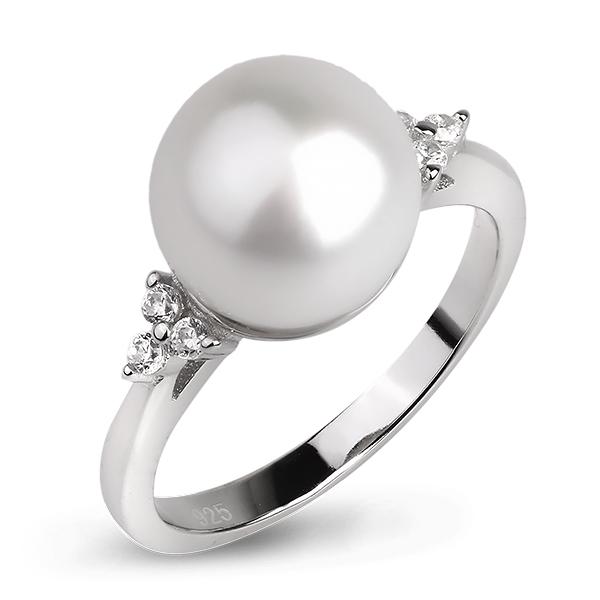 Купить Серебряное кольцо De Luna с жемчугом и фианитами FRR002