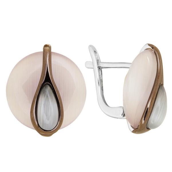 Купить Серебряные серьги с тигровым (кошачьим) глазом JSE0977-4, Тигровый (кошачий) глаз