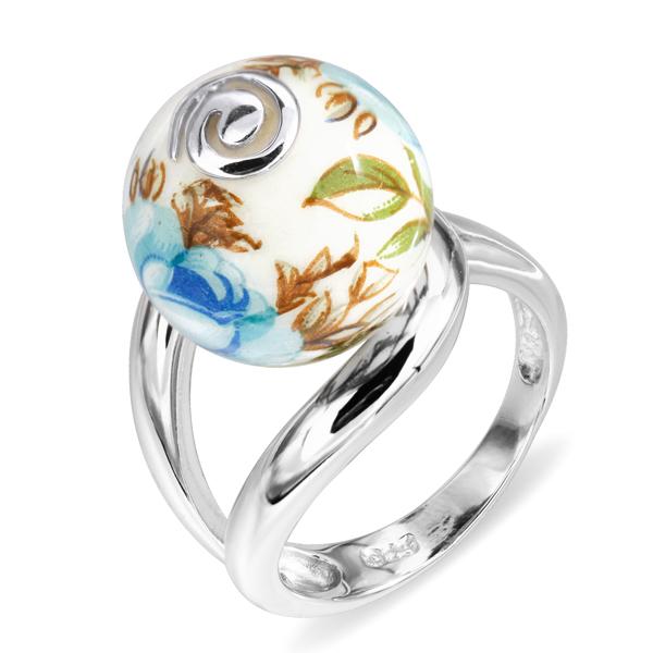 Купить Серебряное кольцо с акрилом JSR0533-2, Японские цветы