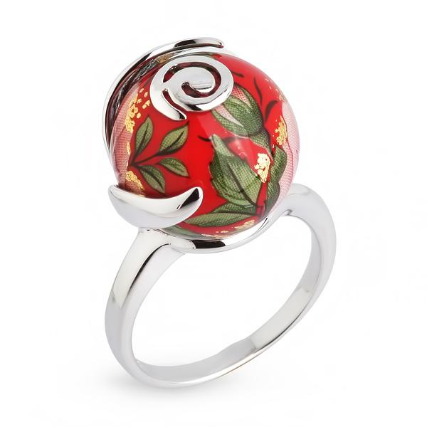 Купить Серебряное кольцо с акрилом JSR1171-2W, Японские цветы