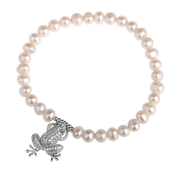 Купить со скидкой Серебряный браслет De Luna с жемчугом и фианитами LJB070