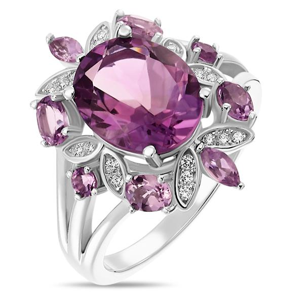 Купить со скидкой Серебряное кольцо Sandara с аметистом и фианитами LSR019