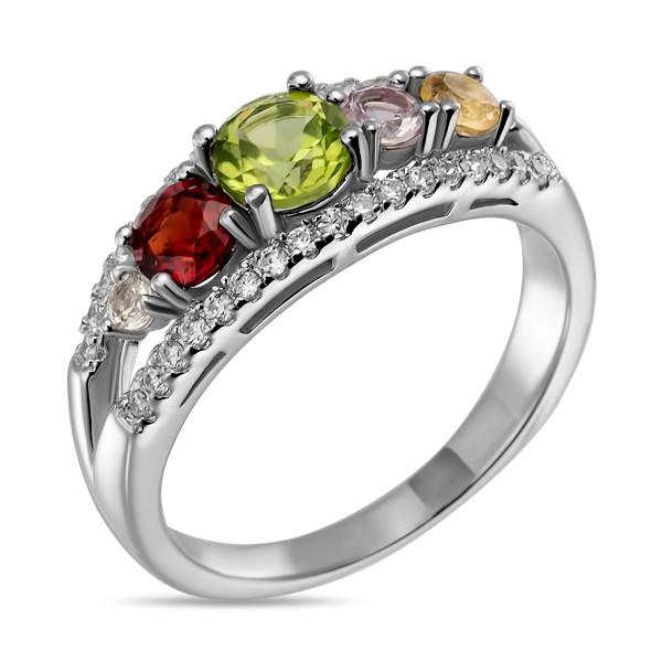 Купить Серебряное кольцо Sandara с перидотом, аметистом, цитрином, гранатом и фианитами LSR079