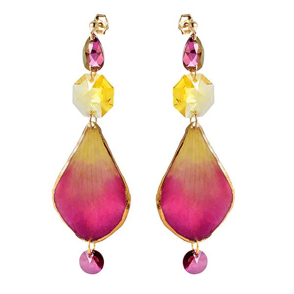 Купить со скидкой Серебряные серьги Monella с кристаллами Сваровски и лепестками орхидеи в ювелирной смоле MOE278