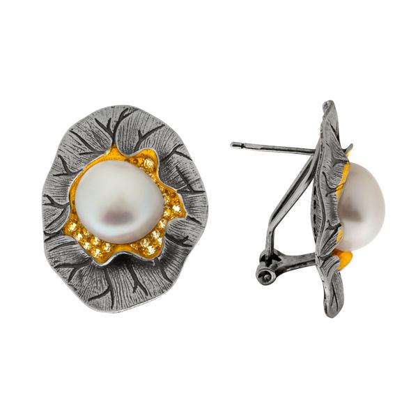 Серебряные серьги Sandara с жемчугом .фианитами и позолотой PDE100  - купить со скидкой