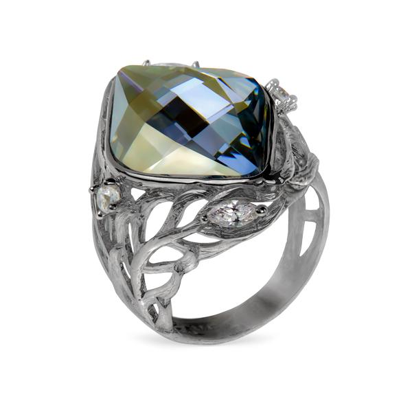 Серебряное кольцо Sandara с горным хрусталем и фианитами PDR078  - купить со скидкой