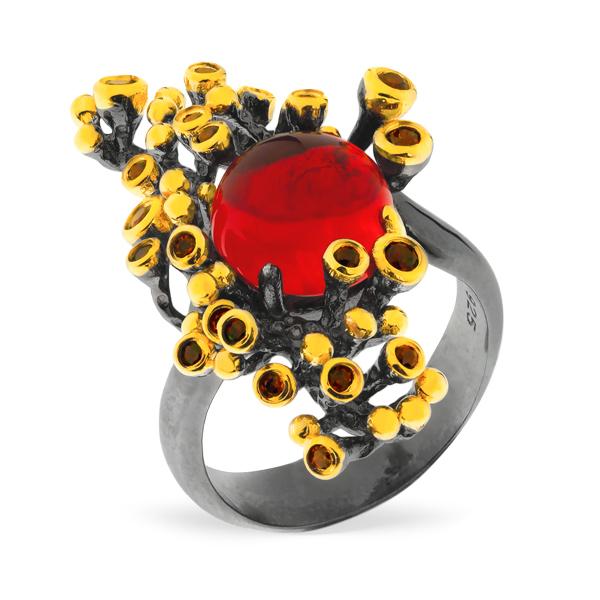 Серебряное кольцо Sandara с фианитом.гранатом и позолотой PDR082  - купить со скидкой