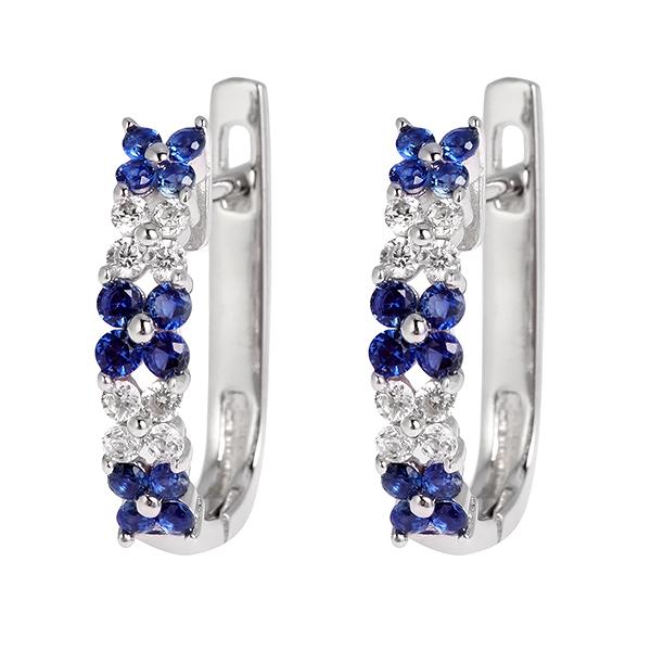 Купить со скидкой Серебряные серьги Sandara Ice с белыми и синими фианитами PJE209