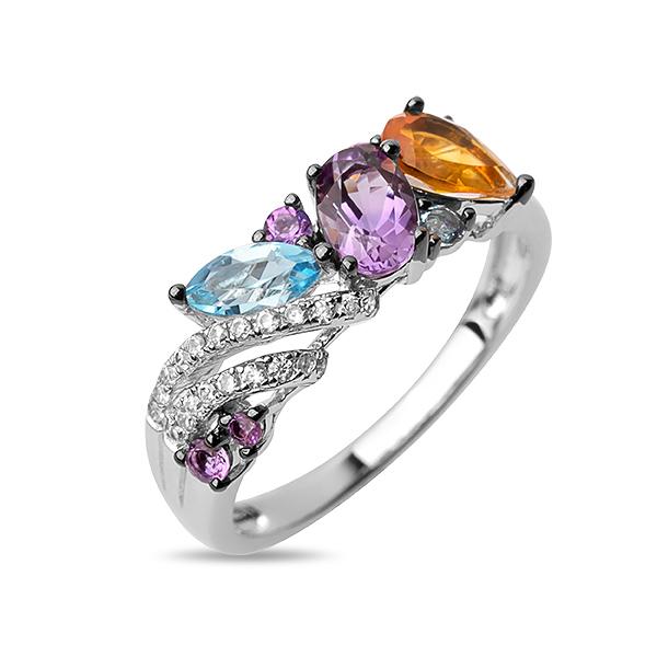 Купить со скидкой Серебряное кольцо Sandara с аметистом, цитрином, топазами и фианитами PJR334