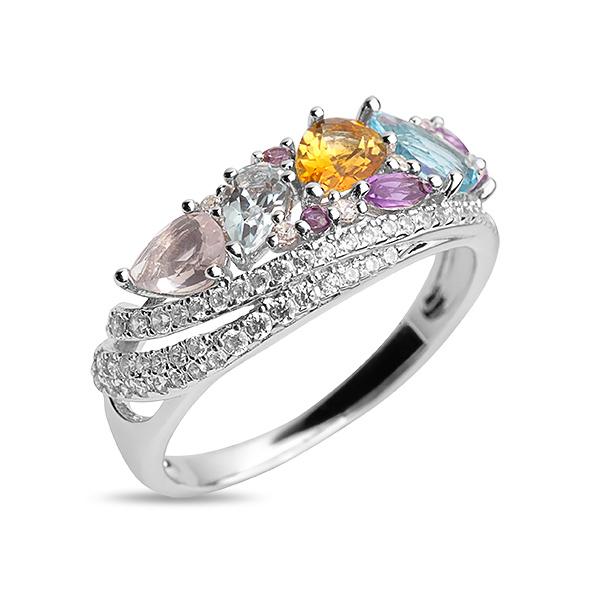 Купить Серебряное кольцо Sandara с аметистом, розовым кварцем, топазом, цитрином и фианитами PJR354
