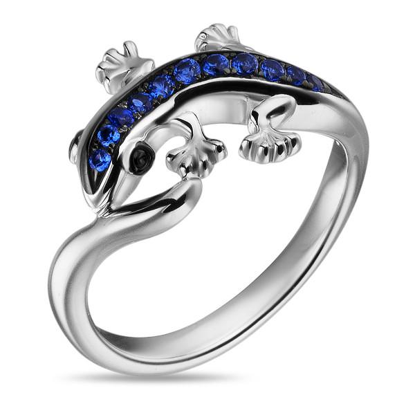 Купить Серебряное кольцо Sandara Ice с синими фианитами и черным родированием PJR385