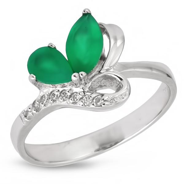 Купить Серебряное кольцо Sandara с зеленым агатом и фианитами PPR9070
