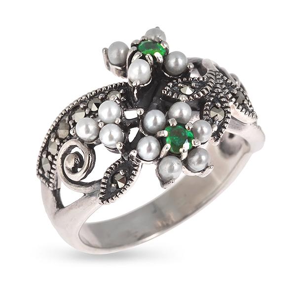 Купить со скидкой Серебряное кольцо c авантюрином,микрожемчугом и марказитами RKR067
