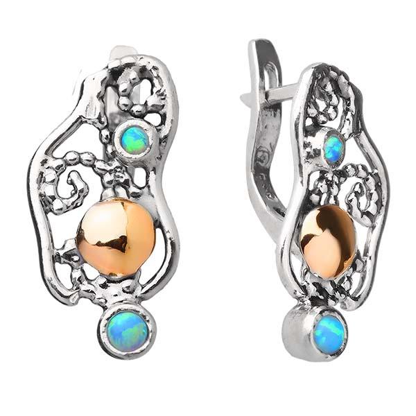 Купить Серебряные серьги Yaffo с синт. опалом и золотом SAE1056