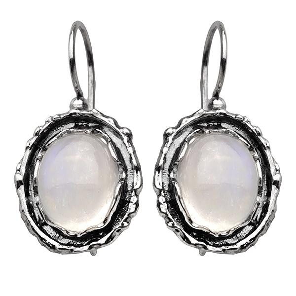 Купить со скидкой Серебряные серьги Yaffo с лунным камнем SAE779