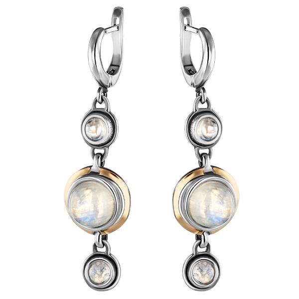 Купить Серебряные серьги Yaffo с лунным камнем и золотом SAE903