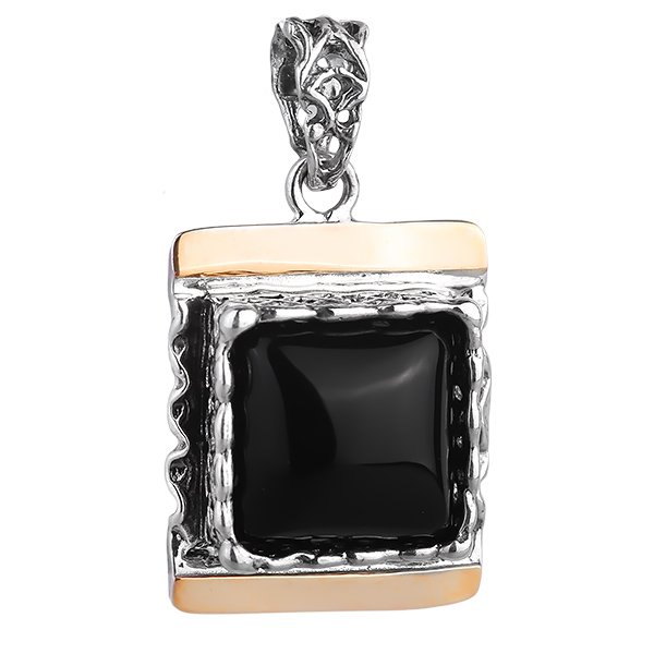 Купить Серебряный кулон Yaffo с черным ониксом и золотом SAP1137