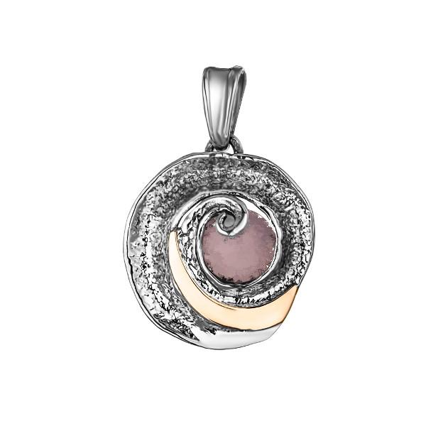 Купить Серебряный кулон Yaffo с розовым кварцем и золотом SAP851