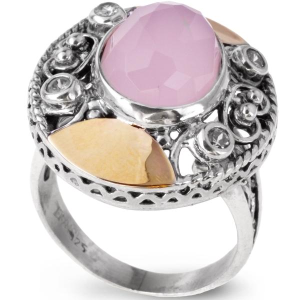 Купить со скидкой Серебряное кольцо Yaffo с золотом, розовым кварцем и фианитом SAR084