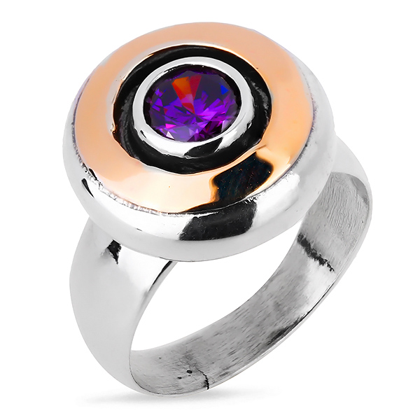 Купить Серебряное кольцо Yaffo с золотом и фианитом SAR098-1