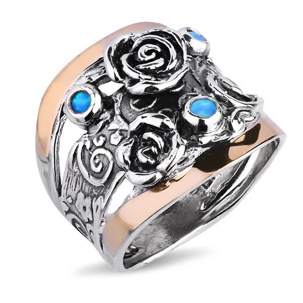 Купить Серебряное кольцо Yaffo с синт. опалом и золотом SAR1098