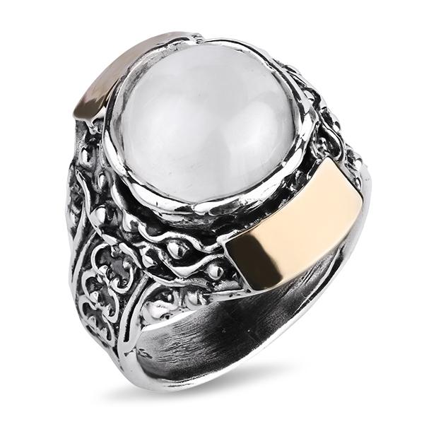 Купить Серебряное кольцо Yaffo с лунным камнем и золотом SAR1116
