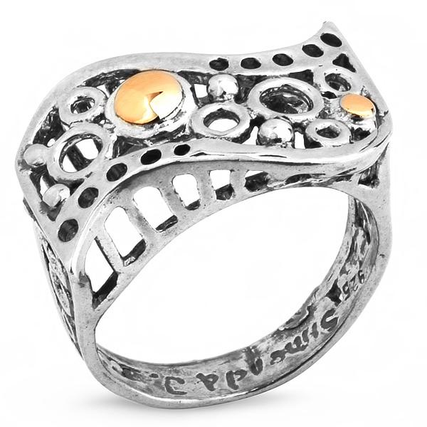 Купить Серебряное кольцо Yaffo с золотом SAR209